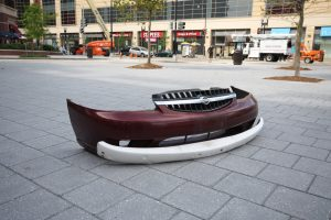 Car bumper in town square