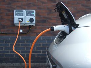 Charging an electric car at a charging station