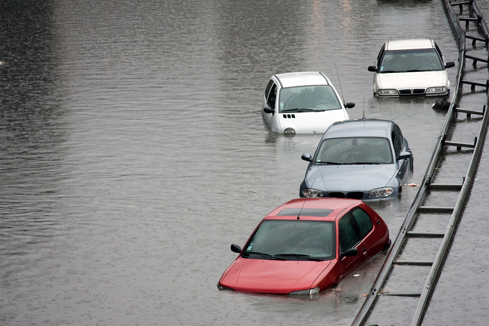 Line of flooded cars