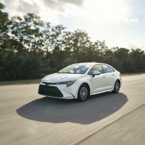 A 2020 Toyota Corolla driving