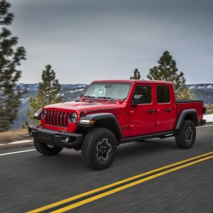 2020 Jeep Gladiator Rubicon driving in the mountains