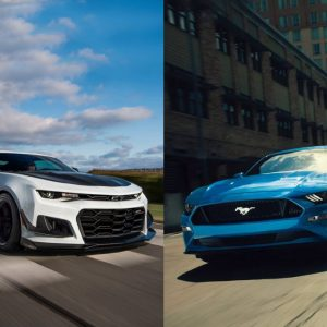 Chevy Camaro and Ford Mustang side by side