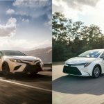Toyota Camry and Toyota Corolla side by side