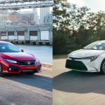 Toyota Corolla and Honda Civic driving
