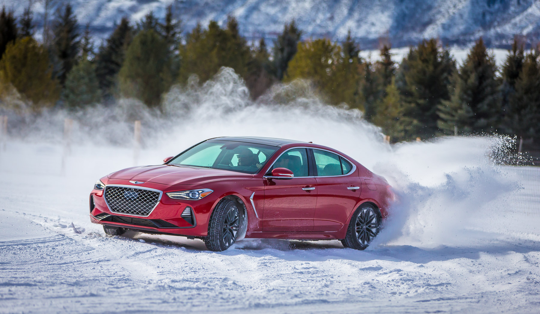 Genesis G70 in the snow
