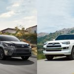Toyota Highlander and Toyota 4Runner side by side