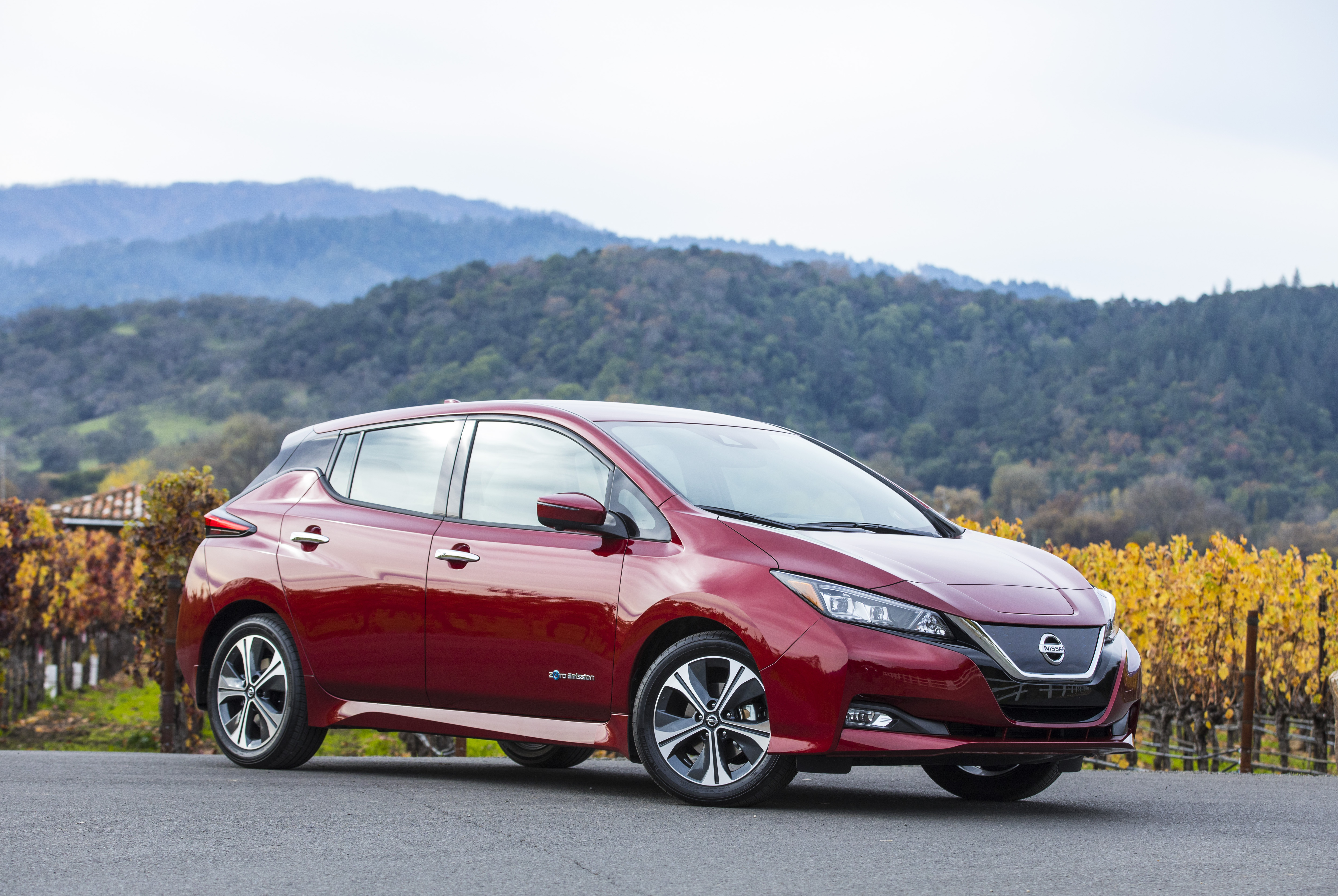 2018 Nissan Leaf in a vineyard
