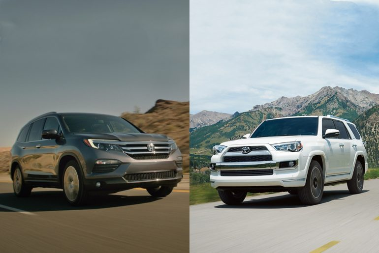 Honda Pilot and Toyota Highlander side by side