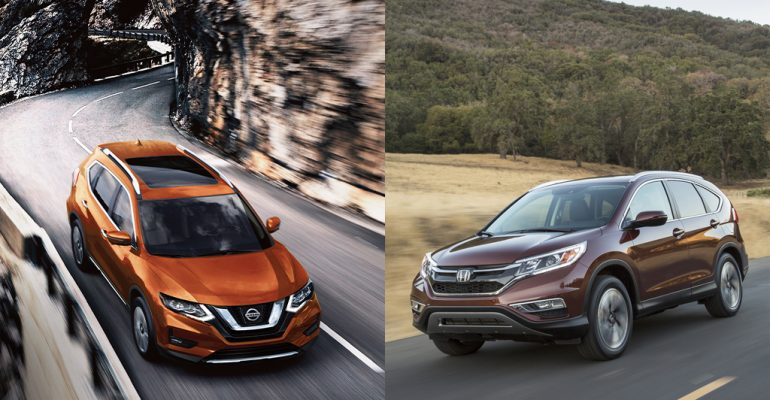 Nissan Rogue and Honda CR-V side by side