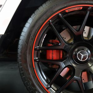Wheel and brake rotors of a Mercedes Benz AMG