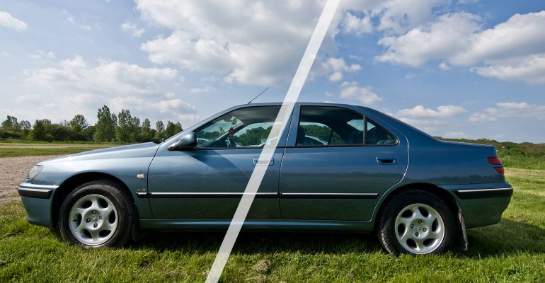 Car parked in a field