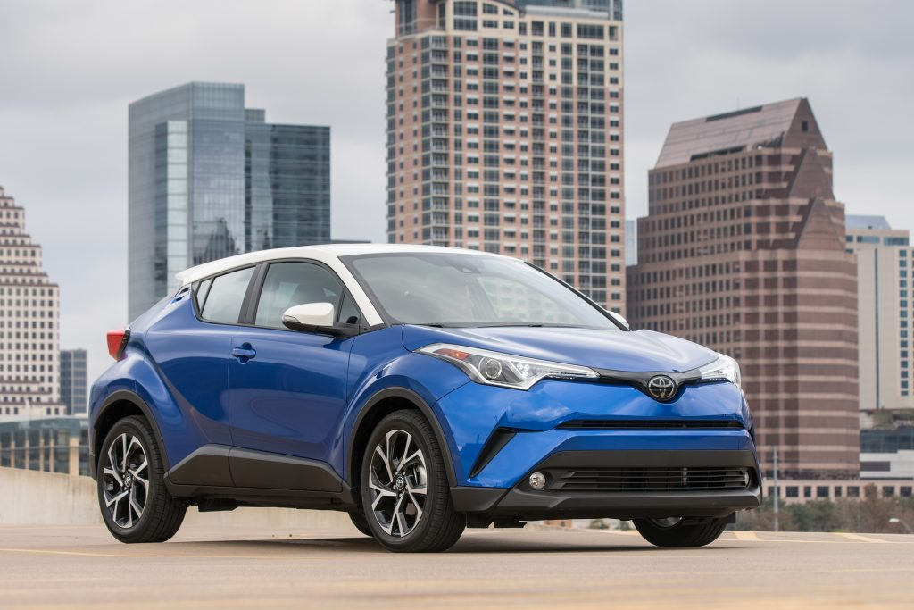Blue 2018 Toyota C-HR in city