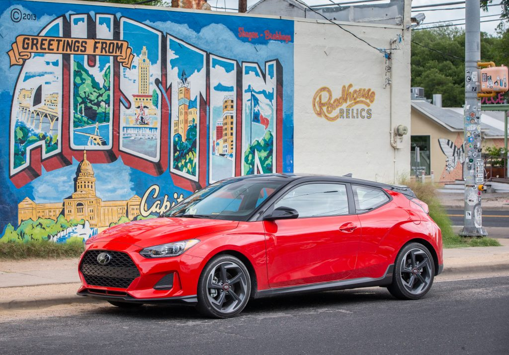 2019 Veloster Turbo parked outside building in Austin TX