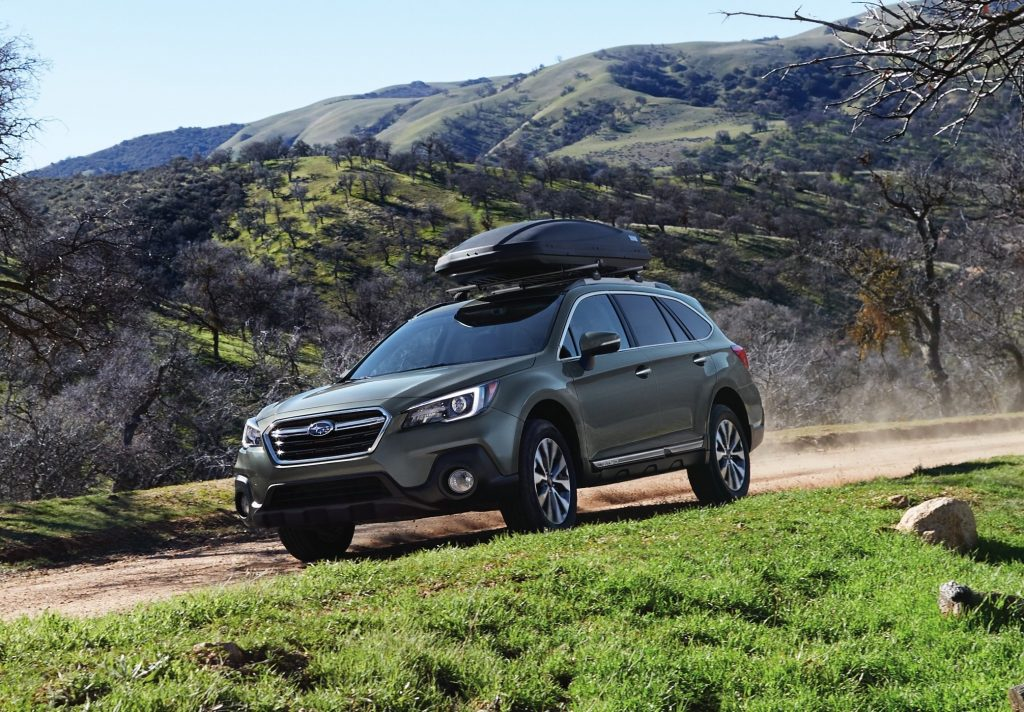 Olive Green 2018 Subaru Outback trail driving