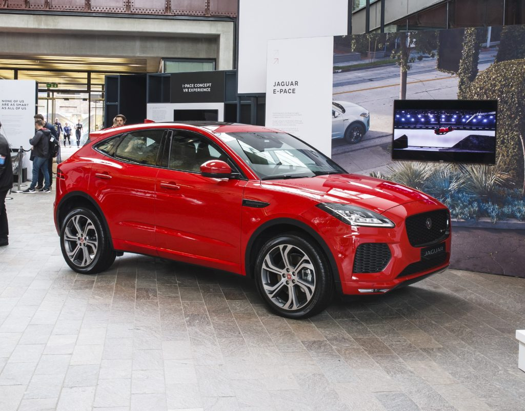 red 2018 Jaguar E-Pace on display