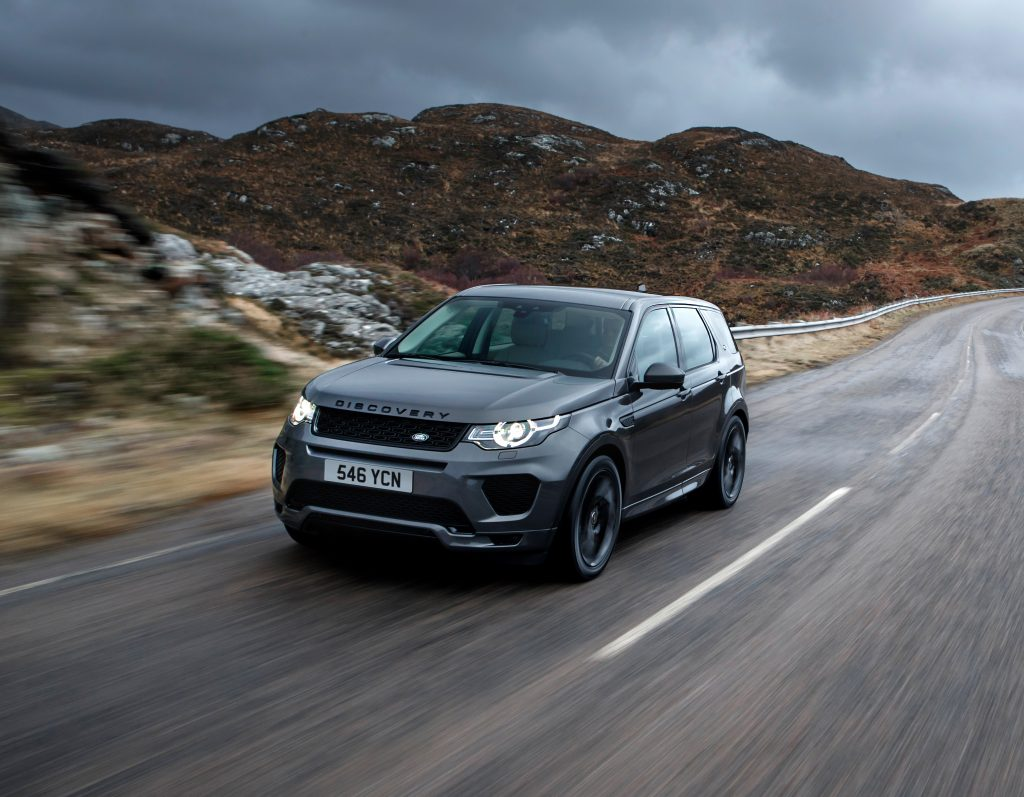 Black 2018 Land Rover Discovery Driving mountain road